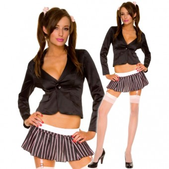 Sexy Naughty Seductive Long Sleeve Jacket w/ Stripes Pleated Skirt w/ Thigh Hi Halloween Costume Cosplay