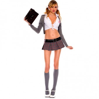 Four Piece Cute Sexy Cardigan Plaid School Girl Set w/ Collared Front Tie Shirt Knee Hi Costume