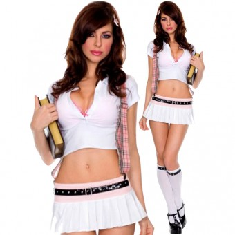 Sexy Naughty Flirty Outlaw School Girl Outfit Including Garter Matching Knee Hi Halloween Costume