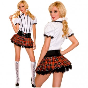 Five Piece Collared Lace Trimmed Top Matching Skirt w/ Built In Petticoat w/ Ponytail Belt Knee Hi