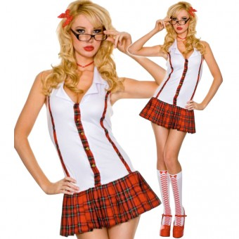 Sexy Naughty Flirty Tartan Stripe Bareback School Girl Outfit w/ Hair Clip Necklace Glasses Knee Hi