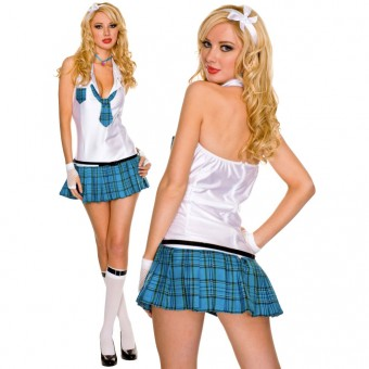 Turquoise Plaid Bareback Schoolgirl Outfit w/ Headband Gloves Necklace Necktie Belt Costume Cosplay