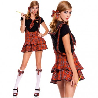 Flirty Naughty Four Piece School Girl Suspender Dress w/ Collared Top w/ Tie Hair Bows Knee Hi Costume
