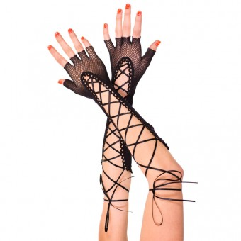 Fingerless Lace Up Fishnet Elbow Length Warmer Costume Accessories