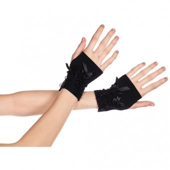 Fingerless Gloves w/ Satin Lace Details Halloween Costume Accessories