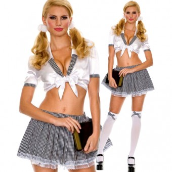 Naughty Flirty Vixen Two Piece Sexy School Girl Outfit w/ Lace Trim Skirt Halloween Costume Cosplay