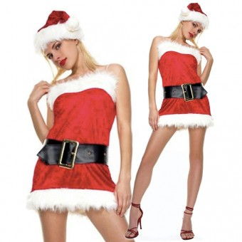 Fun Sexy Christmas Four Piece Mrs Clause Dress w/ Belt Hat Thigh Hi Costume Cosplay