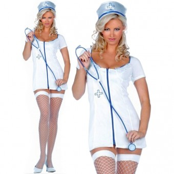 Sexy Flirty Hot Sexy Flirty Hot Nurse Outfit w/ Head Band & Stethoscope Costume Cosplay Halloween