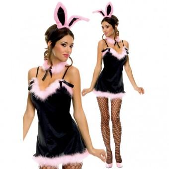 Playful Sexy Flirty Four Piece Satin Bunny Mini w/ Head Neckpiece Costume Cosplay