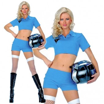 Seductive Hot Vixen Short Sleeved Race Car Skirt Set Checker Trim On Sides w/ Gloves Flag Costume