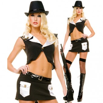 Sexy Flirty Classic Sexy Flirty Classic Two Piece Gangster Outfit Costume Cosplay Halloween