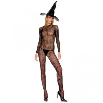 Naughty Evil Hot Vixen Sexy Sheer Witch Spider Web Pattern Outfit w/ Hat Halloween Costume