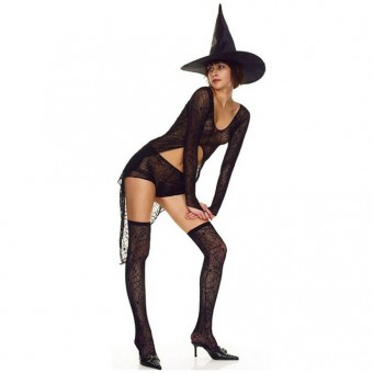 Naughty Evil Hot Vixen Four Piece Spider Web Sheer Lace Outfit w/ Hat Thigh Hi Halloween Costume