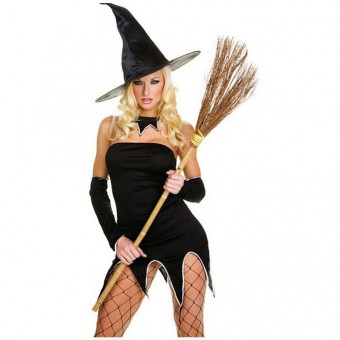 Naughty Evil Hot Vixen Four Piece Strapless Witch Dress w/ Long Sleeves Halloween Costume