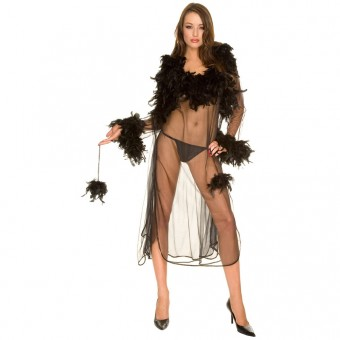 Sexy Stylish Two Piece Ostrich Feather Lined w/ Fluffy Balls Sheer Robe w/ Gown