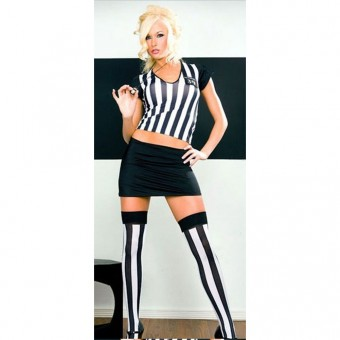 Sexy Fun Naughty Three Piece Referee Outfit w/ Whistle Halloween Costume Cosplay