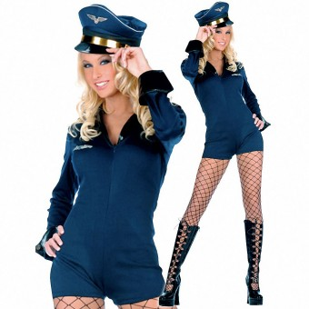 Cute Sexy Fun Flirty Two Piece Pilot Front Zipper Jumpsuit Costume Cosplay Halloween