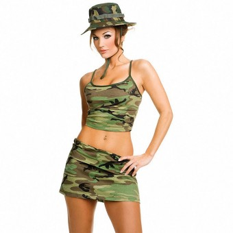 Hot Vixen Three Piece Camouflage Skit Set Including Hat Costume Cosplay Halloween