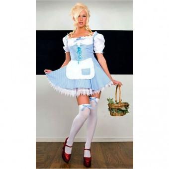 Cute Fun Flirty Cute Fun Flirty Blue White Checker Gingham Peasant Dress Costume Cosplay Halloween