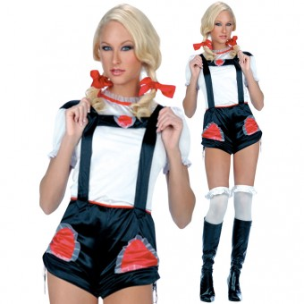 Fun Flirty Heidi Ho Jumpsuit Set Costume Cosplay Halloween