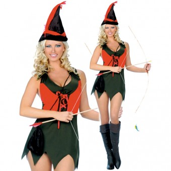 Sexy Fun Two Piece Elf Archer Outfit Including Hat Pouch Costume Cosplay Halloween