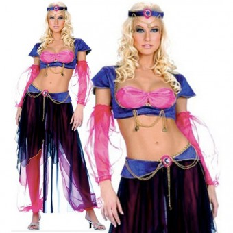 Seductive Intricate Sexy Six Piece Belly Dancer Gypsy Costume Cosplay Halloween