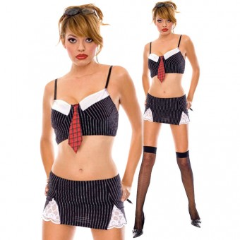 Seductive Flirty Revealing Naughty Secretary Outfit Halloween Costume Cosplay