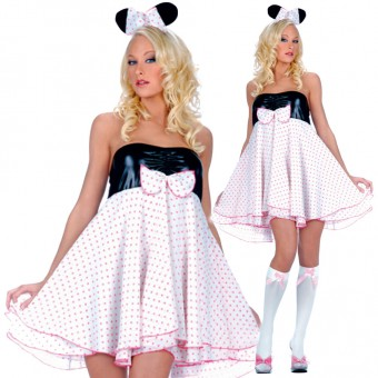 Fun Cute Flirty Two Piece Cute Mouse Outfit w/ Head Piece Costume Cosplay Halloween