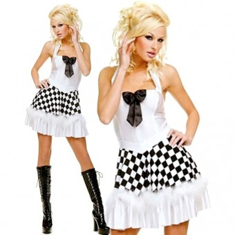 Seductive Hot Vixen Halter Neck Race Car Dress w/ Bow Halloween Costume Cosplay