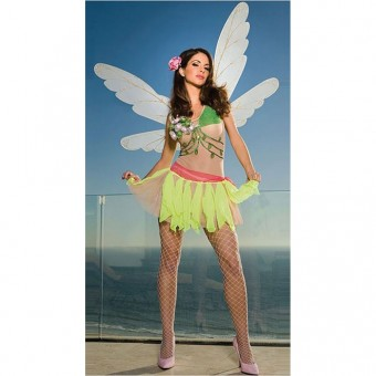 Sexy Flirty Exotic Ruffled Trim Angel Peasant Dress Costume Cosplay Halloween