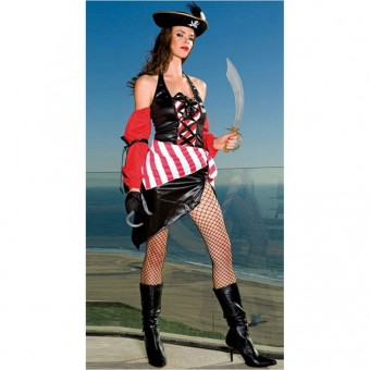 Sexy Flirty Hot Lace Up Front Halter Neck Pirate Outfit w/ Attached Sleeves Cosplay Halloween