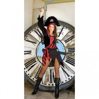 Sexy Flirty Hot Treasure Pirates Outfit w/ Striped Waist Scarf Costume Cosplay Halloween