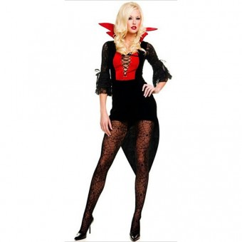 Seductive Naughty Hot Vixen Seductive Naughty Hot Vixen Vet Lace Up Dracula Outfit Halloween Costume