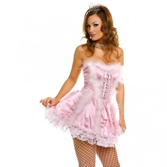 Cute Fun Flirty Cute Fun Flirty Strapless Satin w/ Marabou Trim Princess Dress Costume Cosplay Halloween