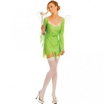 Fun Flirty Playful Sexy Lace Trim Tinkle Bell Pixie Dress w/ W Wings Costume Cosplay Halloween