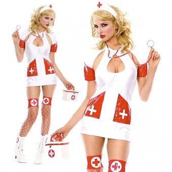Nurse Halter Neck Bareback Outfit w/ Keyhole Including Head Piece Handbag Stethoscope