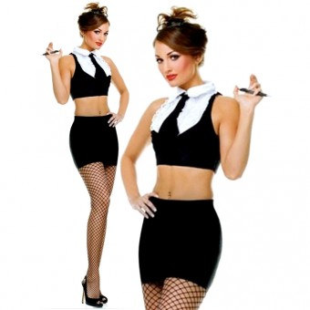 Sexy Seductive Naughty Two Piece Secretary Outfit Halloween Costume Cosplay
