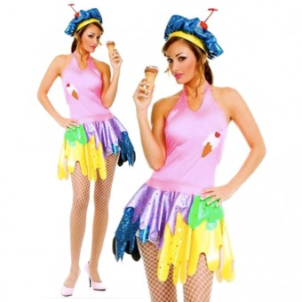Hot Flirty Fun Two Piece Halter Neck Ice Cream Girl Outfit Comes w/ Matching Hat Costume Cosplay
