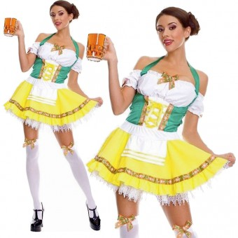 Fun Sexy Bar Waitress Oktoberfest Beer Girl Costume w/ Costume Cosplay Halloween
