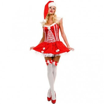 Fun Sexy Christmas Satin Lace Up w/ Lace Trim Miss Santa Dress w/ Hat Thigh Hi