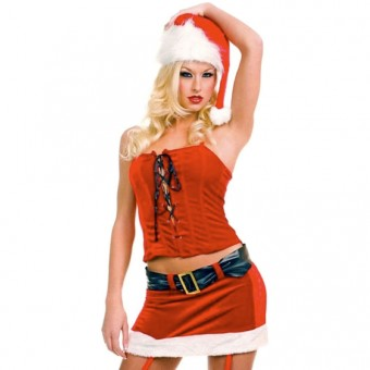 Fun Sexy Christmas Two Piece Lace Up Miss Santa Costume w/ Hat Gloves Costume Cosplay