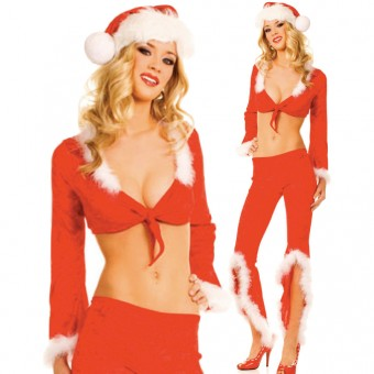 Fun Sexy Christmas Santa Pants Set Outfit w/ Hat Belt Costume Cosplay