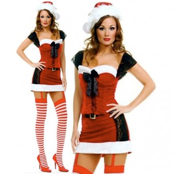 Fun Sexy Christmas Two Piece Lace Up Miss Santa Outfit Costume Cosplay