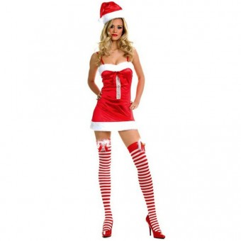 Fun Sexy Christmas Miss Santa Dress Fuzzy Trim Striped Stockings w/ Hat Costume Cosplay