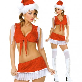 Fun Sexy Christmas Three Piece Santa Girl Outfit Front Tie Top w/ Hat Costume Cosplay