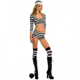 Sexy Naughty Seductive Three Piece Jail Bird Short Set w/ Hat Thigh Hi Halloween Costume Cosplay