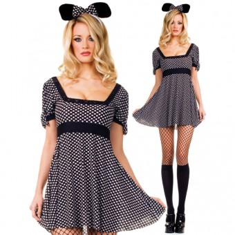 Two Piece Cute Mouse Outfit Spotted w/ Head Piece Costume Cosplay Halloween