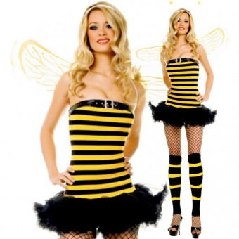 Fun Flirty Playful Sexy Bumble Bee Tube Dress w/ Buckle On Top w/ Wings Antenna