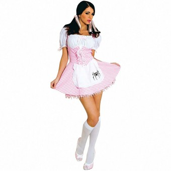 Hot Seductive Pink Gingham Muffet Dress Costume Cosplay Halloween