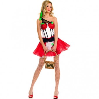 Fun Flirty Playful Sexy Cherry Princess Dress Costume Cosplay Halloween